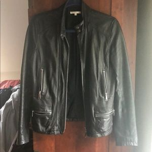 Vince black leather jacket-small